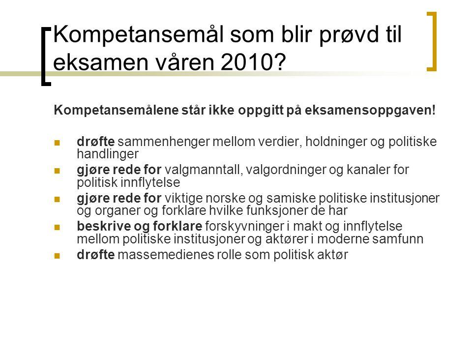 Kompetansemål som blir prøvd til eksamen våren 2010