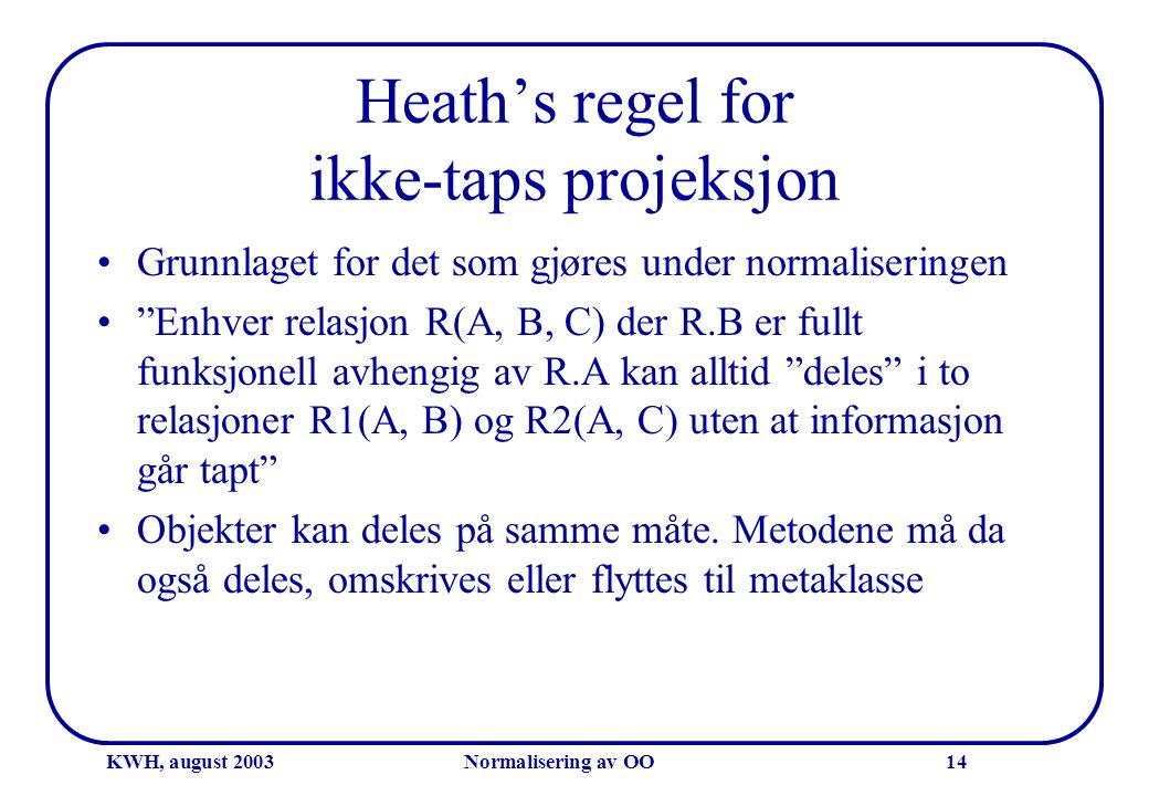 Heath's regel for ikke-taps projeksjon