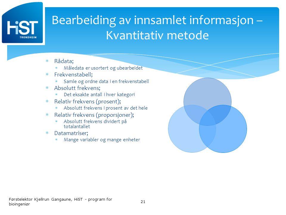 Bearbeiding av innsamlet informasjon – Kvantitativ metode