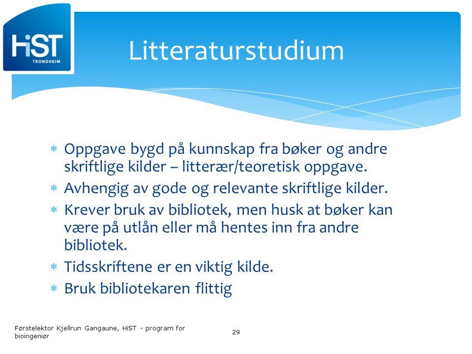 Litteraturstudium Oppgave bygd på kunnskap fra bøker og andre skriftlige kilder – litterær/teoretisk oppgave.