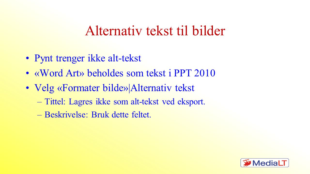 Alternativ tekst til bilder