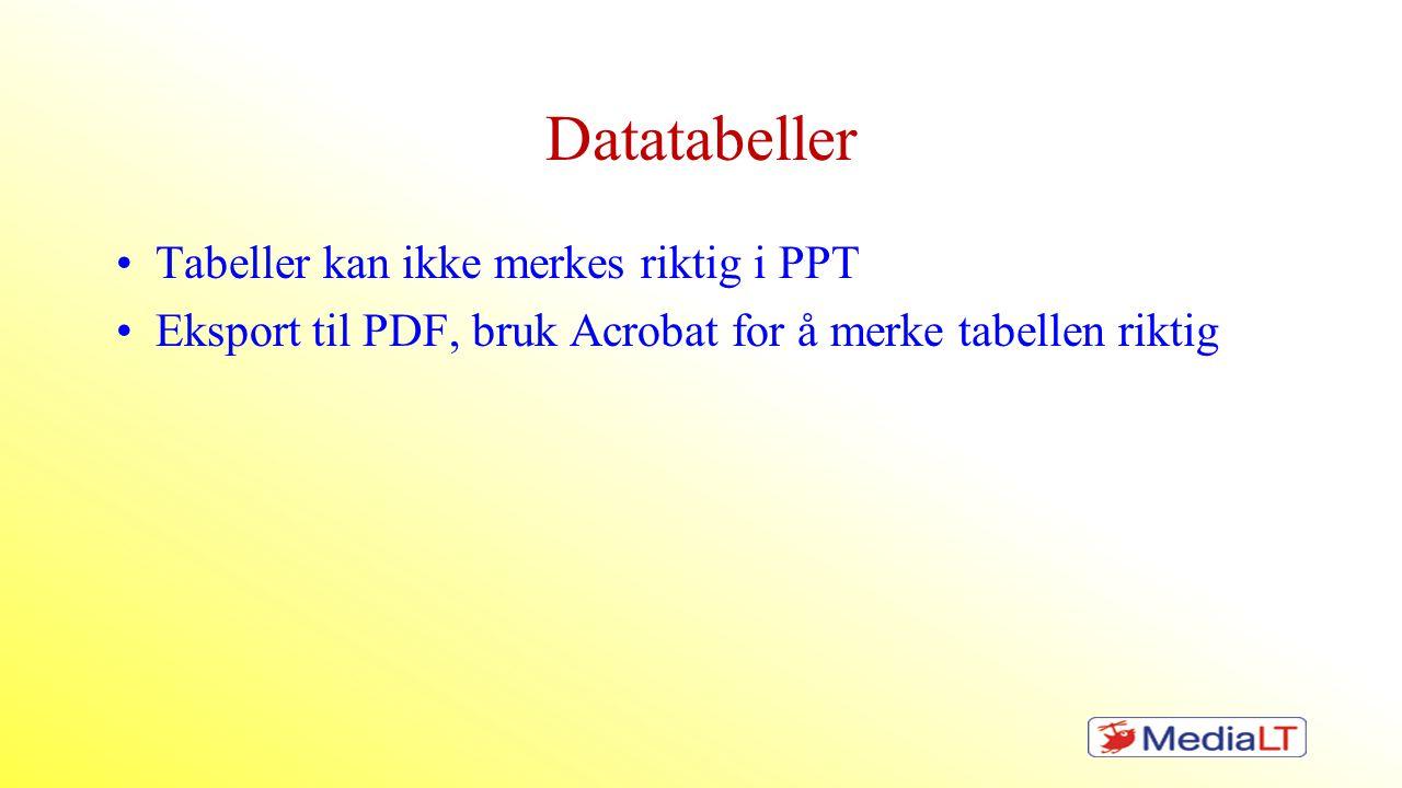 Datatabeller Tabeller kan ikke merkes riktig i PPT