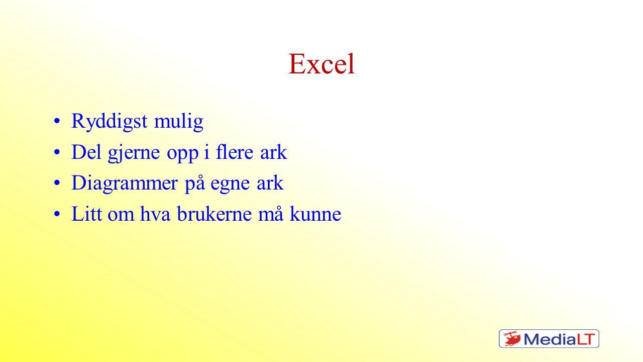 Excel Ryddigst mulig Del gjerne opp i flere ark Diagrammer på egne ark