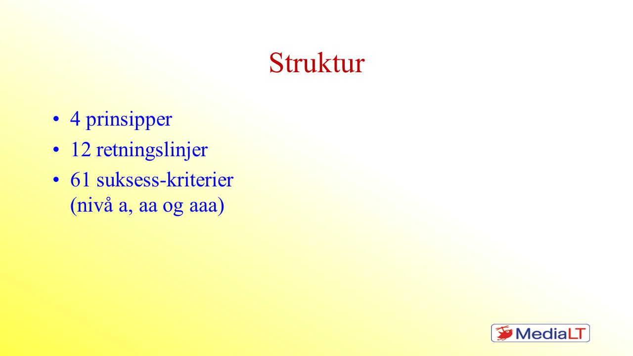 Struktur 4 prinsipper 12 retningslinjer