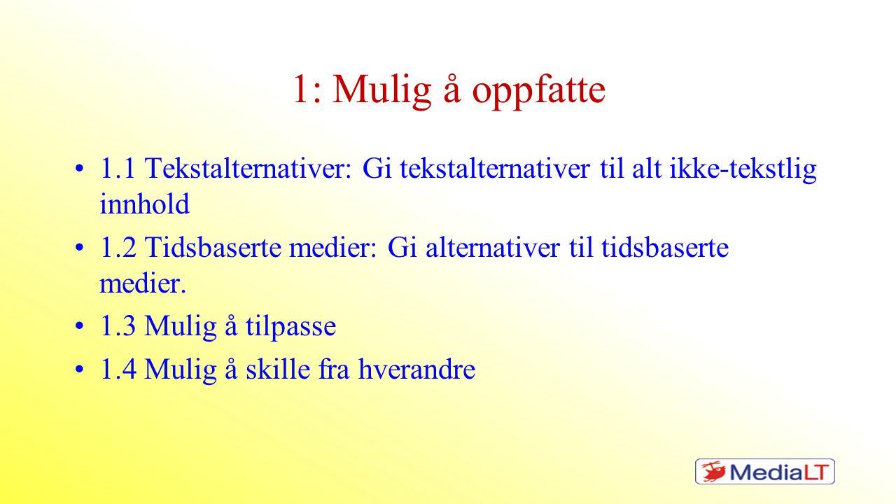 1: Mulig å oppfatte 1.1 Tekstalternativer: Gi tekstalternativer til alt ikke-tekstlig innhold.