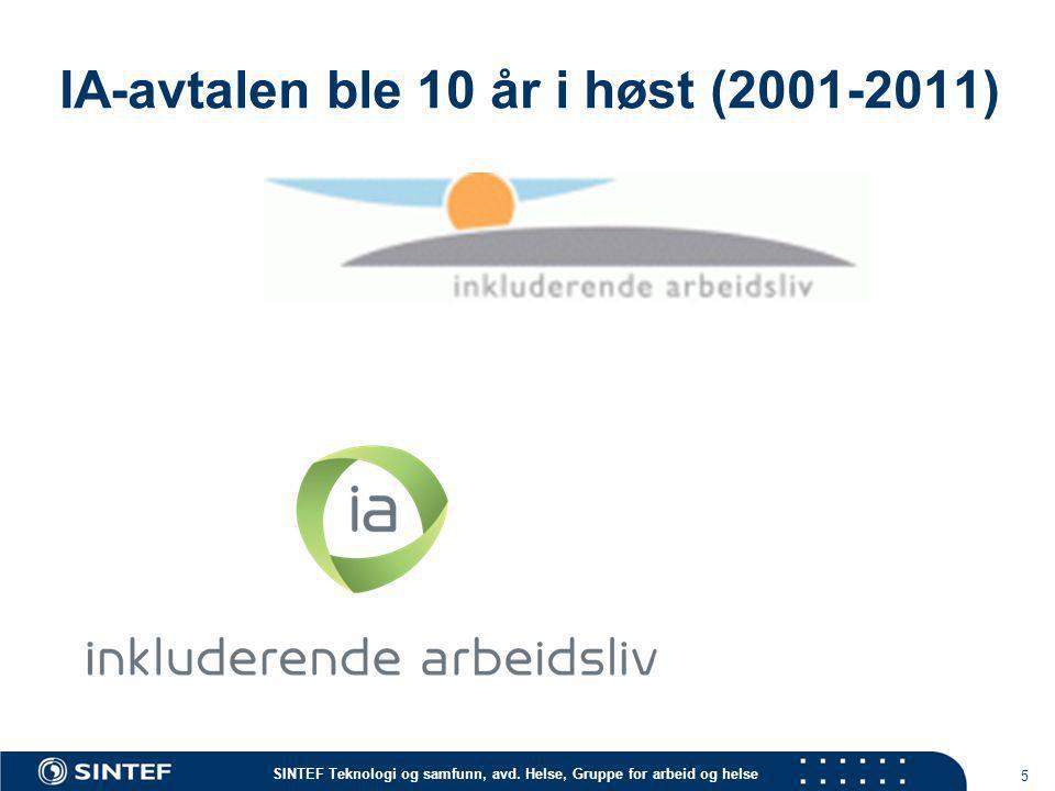 IA-avtalen ble 10 år i høst (2001-2011)