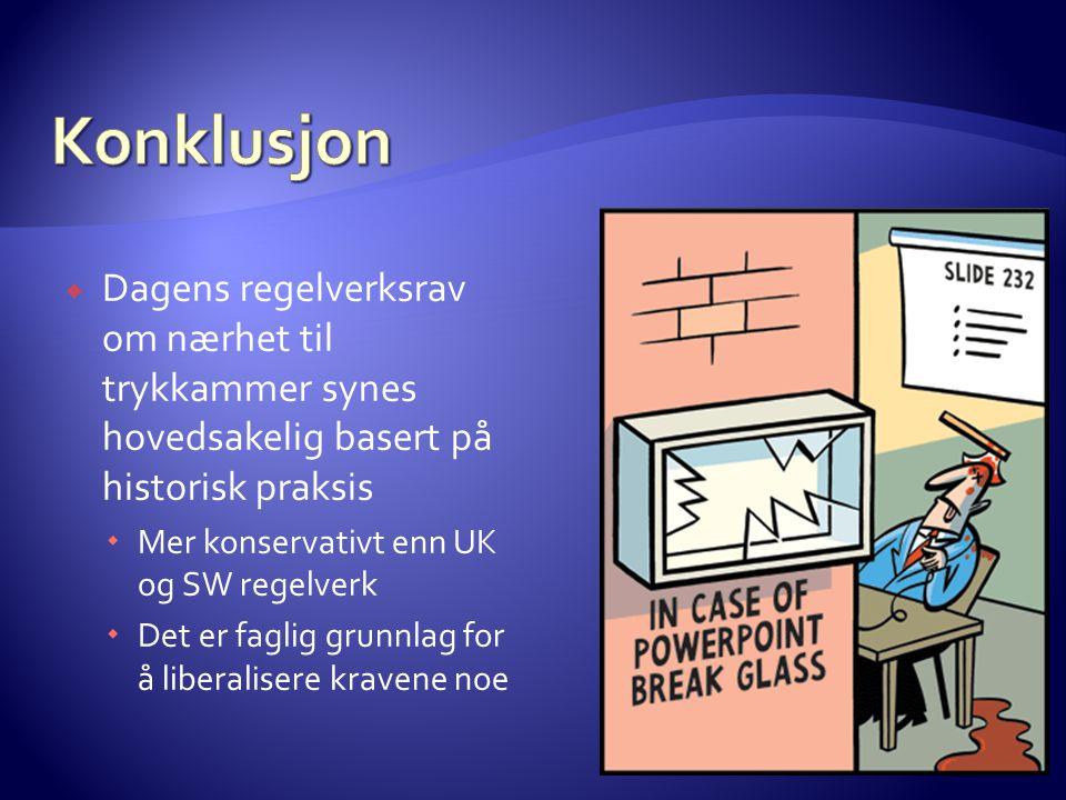 Konklusjon Dagens regelverksrav om nærhet til trykkammer synes hovedsakelig basert på historisk praksis.