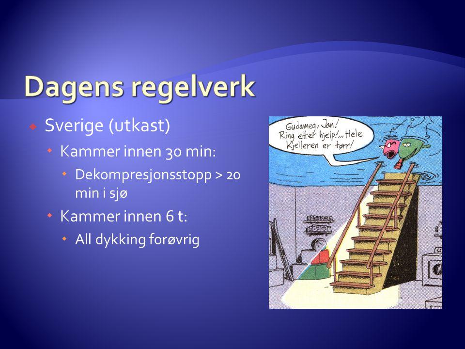 Dagens regelverk Sverige (utkast) Kammer innen 30 min: