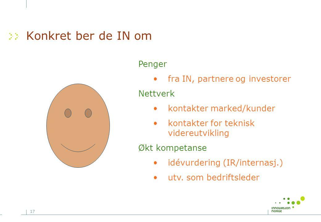 Konkret ber de IN om Penger fra IN, partnere og investorer Nettverk