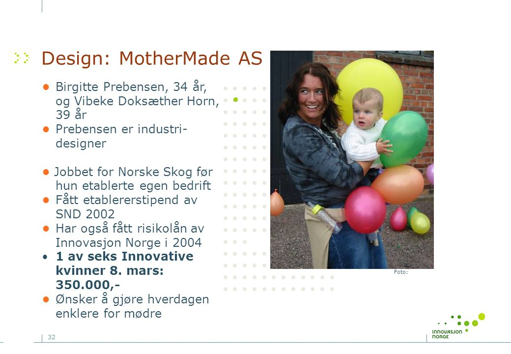 Design: MotherMade AS • Birgitte Prebensen, 34 år, og Vibeke Doksæther Horn, 39 år. • Prebensen er industri-designer.