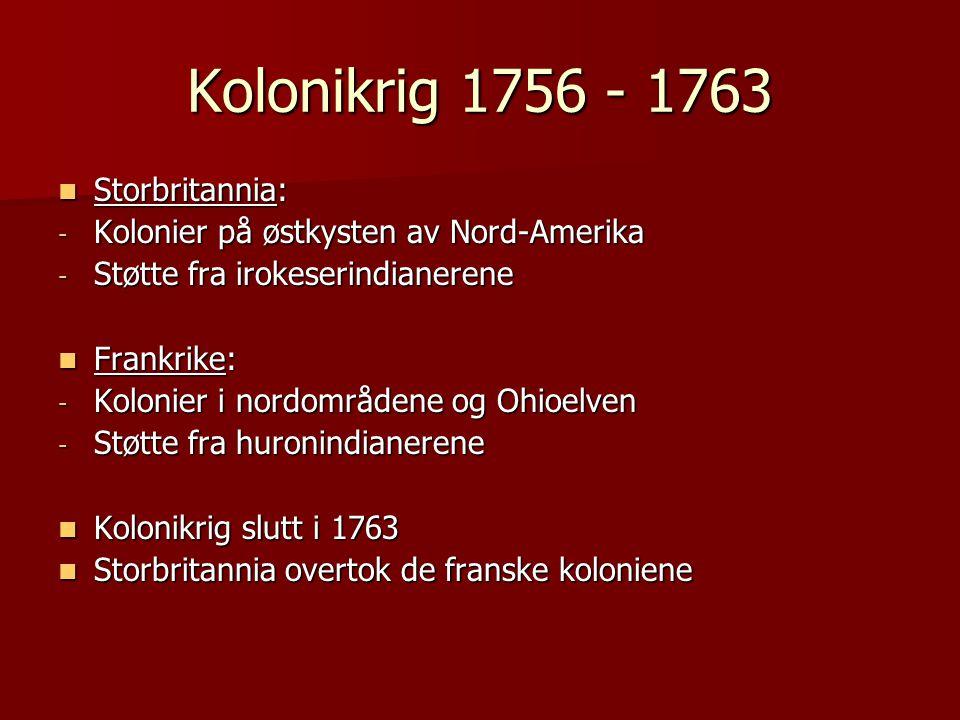 Kolonikrig 1756 - 1763 Storbritannia: