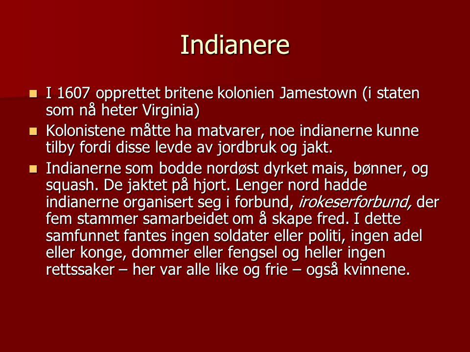Indianere I 1607 opprettet britene kolonien Jamestown (i staten som nå heter Virginia)