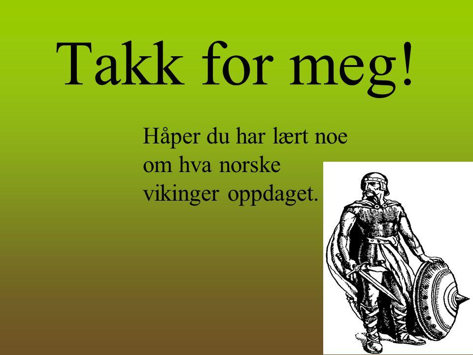 Takk for meg! Håper du har lært noe om hva norske vikinger oppdaget.
