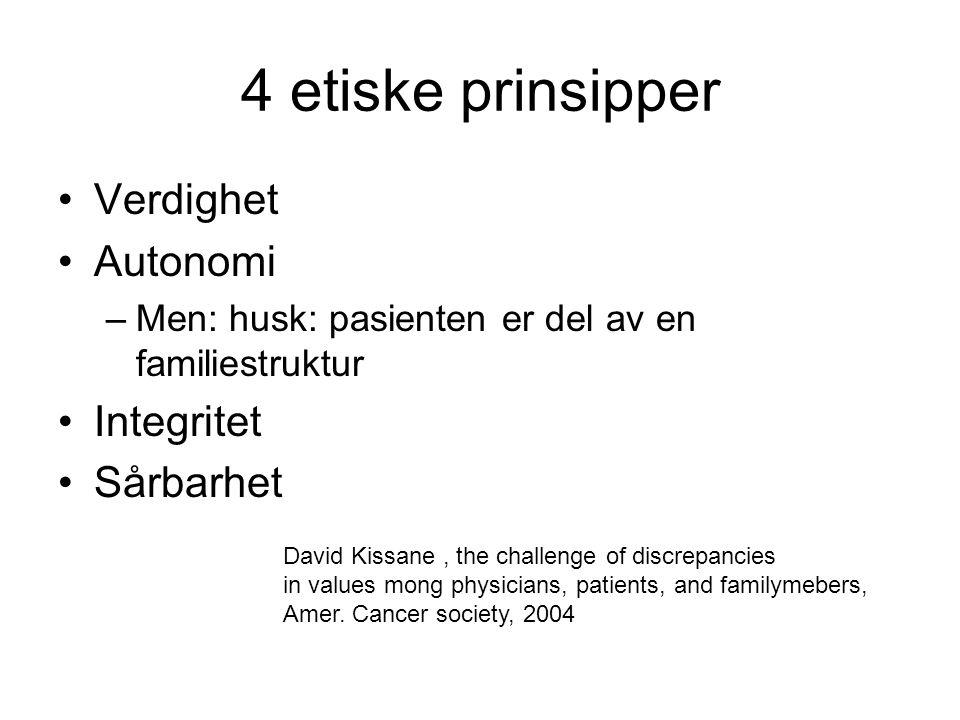 4 etiske prinsipper Verdighet Autonomi Integritet Sårbarhet