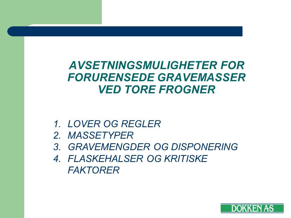 AVSETNINGSMULIGHETER FOR FORURENSEDE GRAVEMASSER VED TORE FROGNER