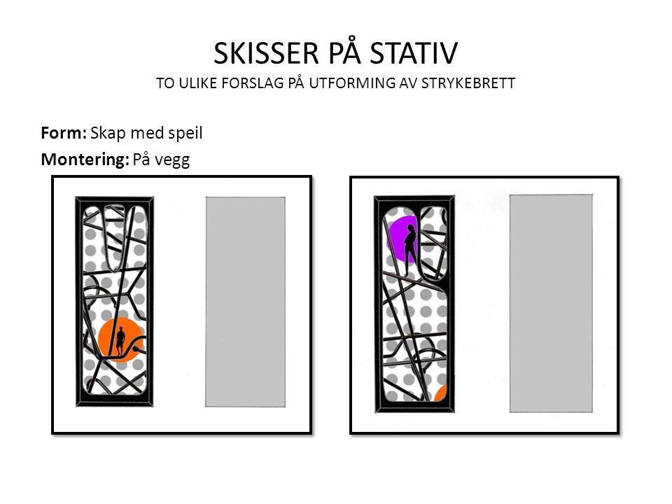 SKISSER PÅ STATIV TO ULIKE FORSLAG PÅ UTFORMING AV STRYKEBRETT