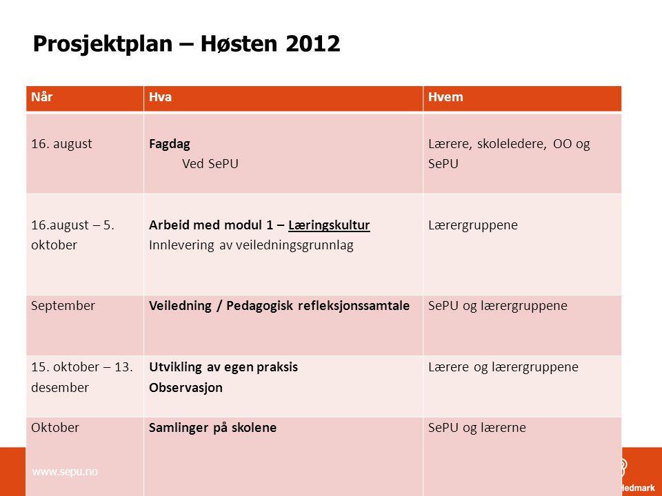 Prosjektplan – Høsten 2012 Når Hva Hvem 16. august Fagdag Ved SePU