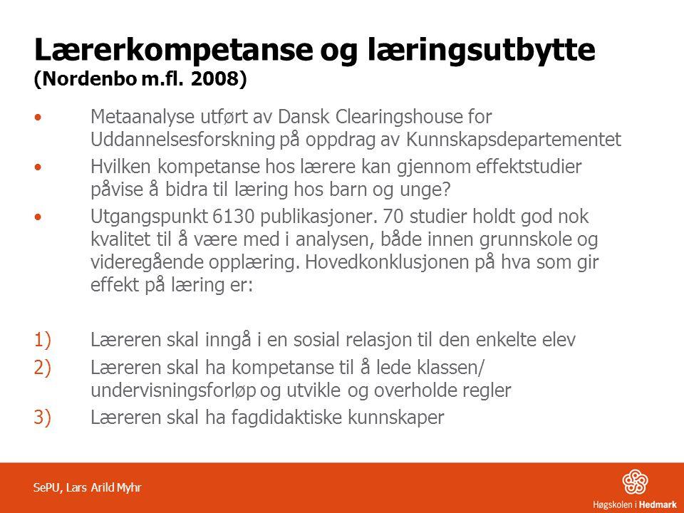 Lærerkompetanse og læringsutbytte (Nordenbo m.fl. 2008)