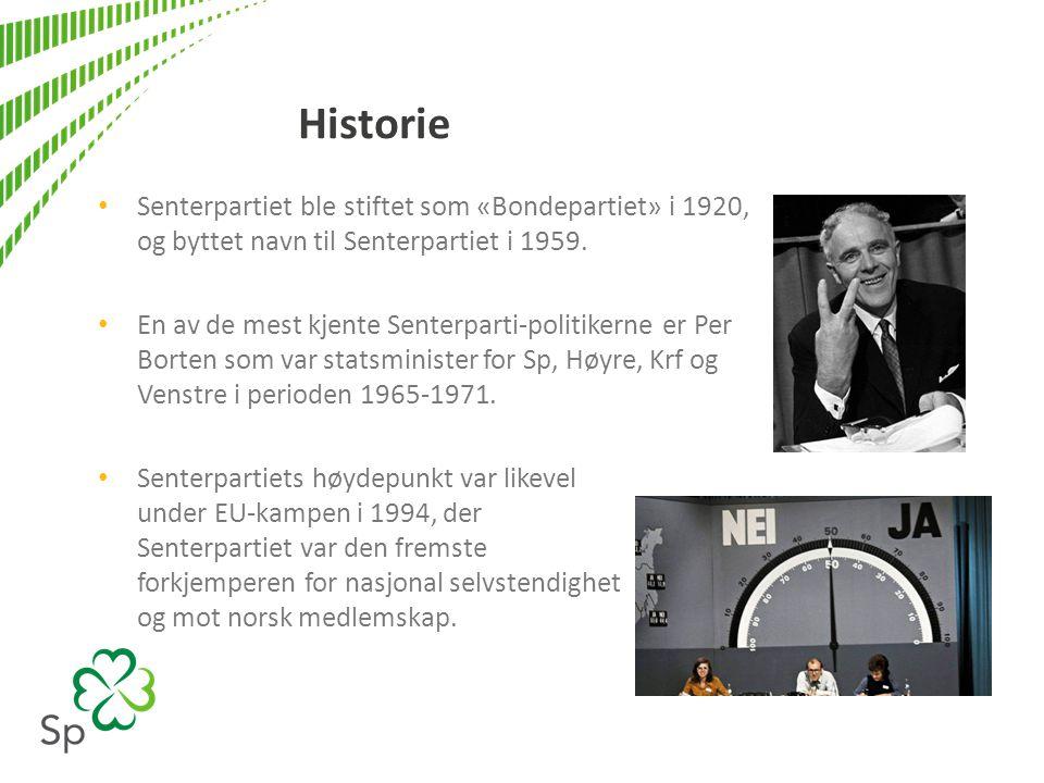 Historie Senterpartiet ble stiftet som «Bondepartiet» i 1920, og byttet navn til Senterpartiet i 1959.