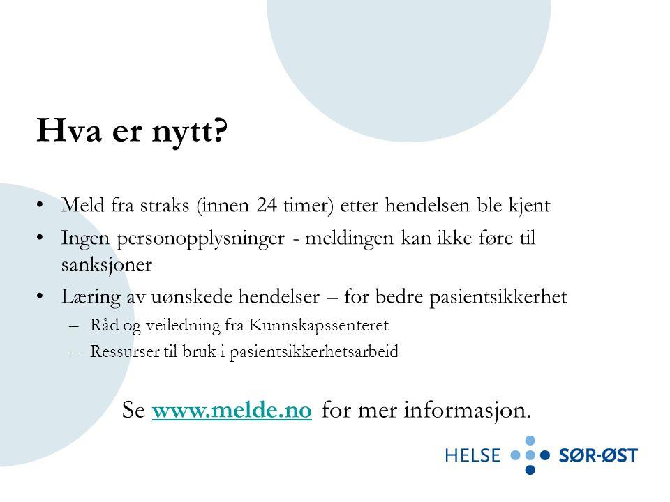 Se www.melde.no for mer informasjon.