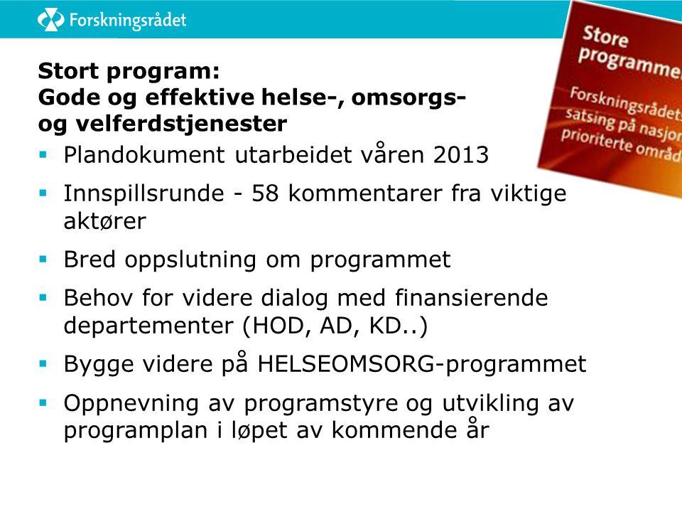 Stort program: Gode og effektive helse-, omsorgs- og velferdstjenester