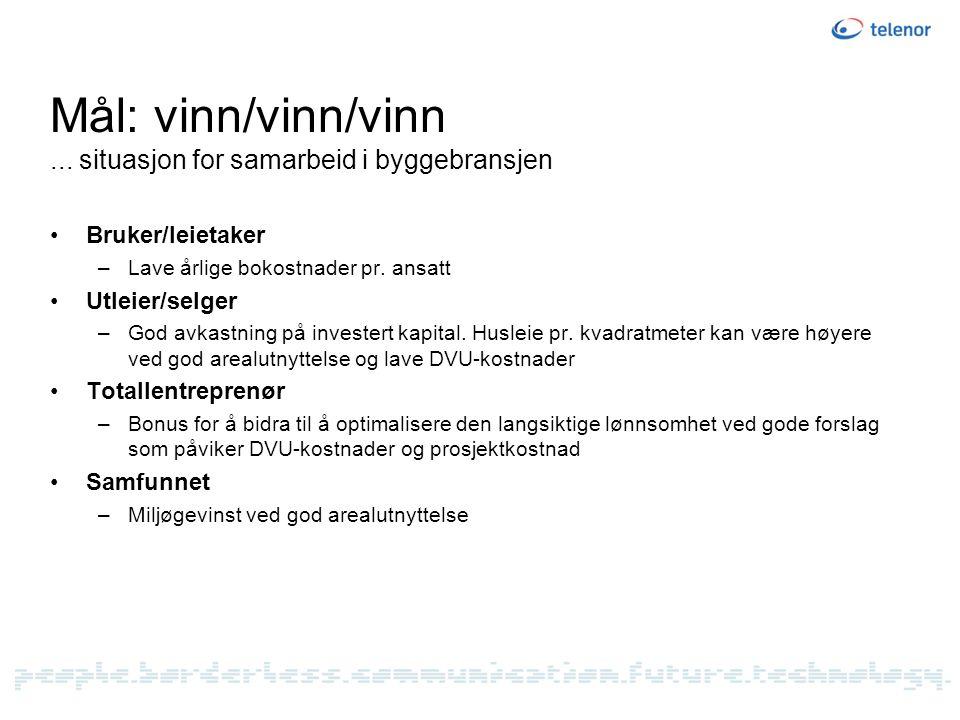 Mål: vinn/vinn/vinn ... situasjon for samarbeid i byggebransjen