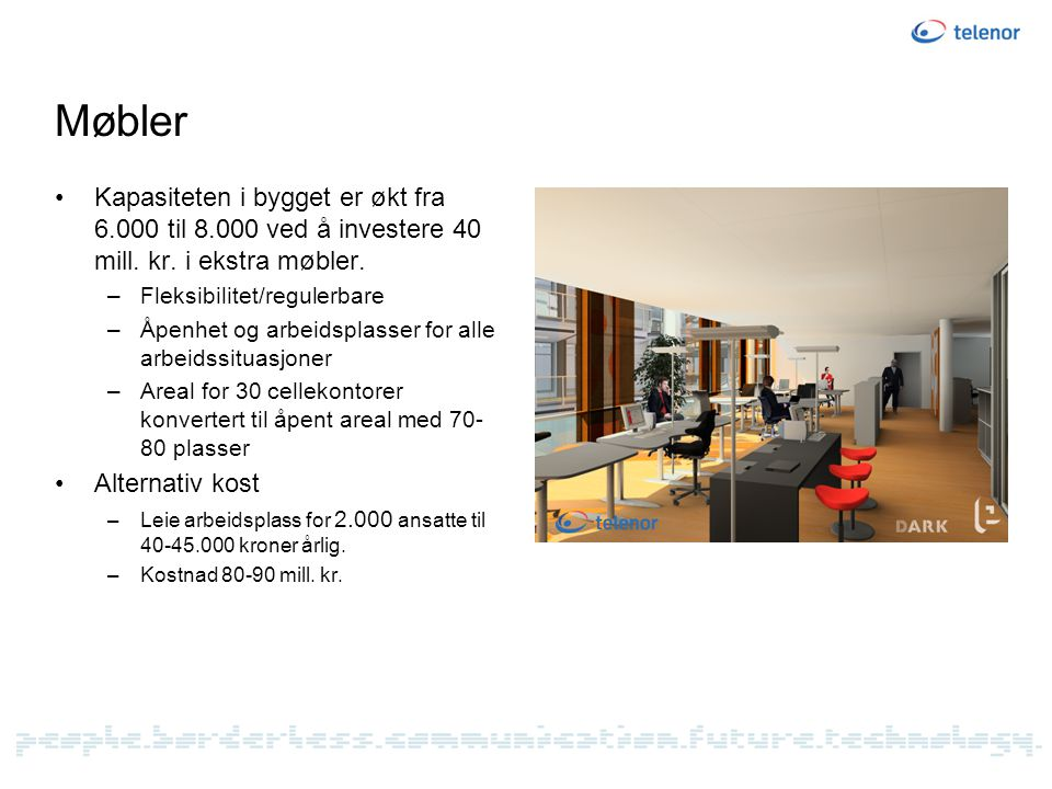 Møbler Kapasiteten i bygget er økt fra 6.000 til 8.000 ved å investere 40 mill. kr. i ekstra møbler.