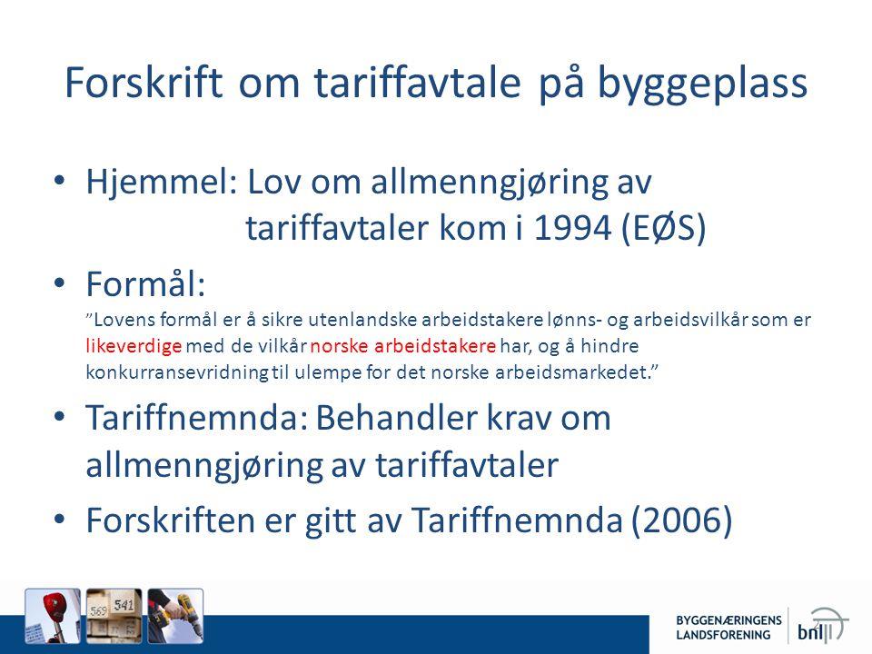 Forskrift om tariffavtale på byggeplass