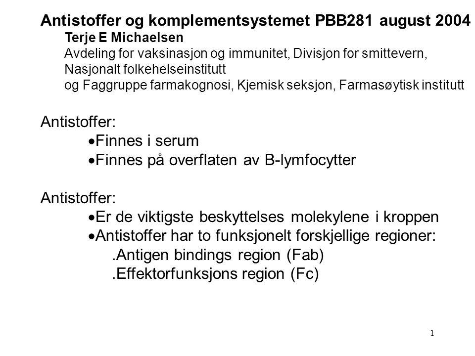 Antistoffer og komplementsystemet PBB281 august 2004