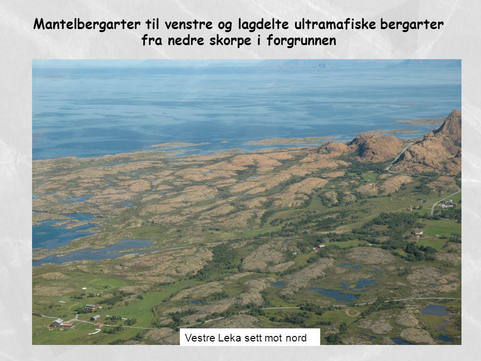 Mantelbergarter til venstre og lagdelte ultramafiske bergarter fra nedre skorpe i forgrunnen