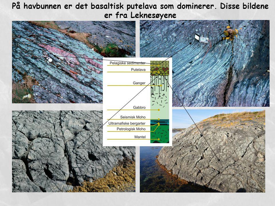 På havbunnen er det basaltisk putelava som dominerer