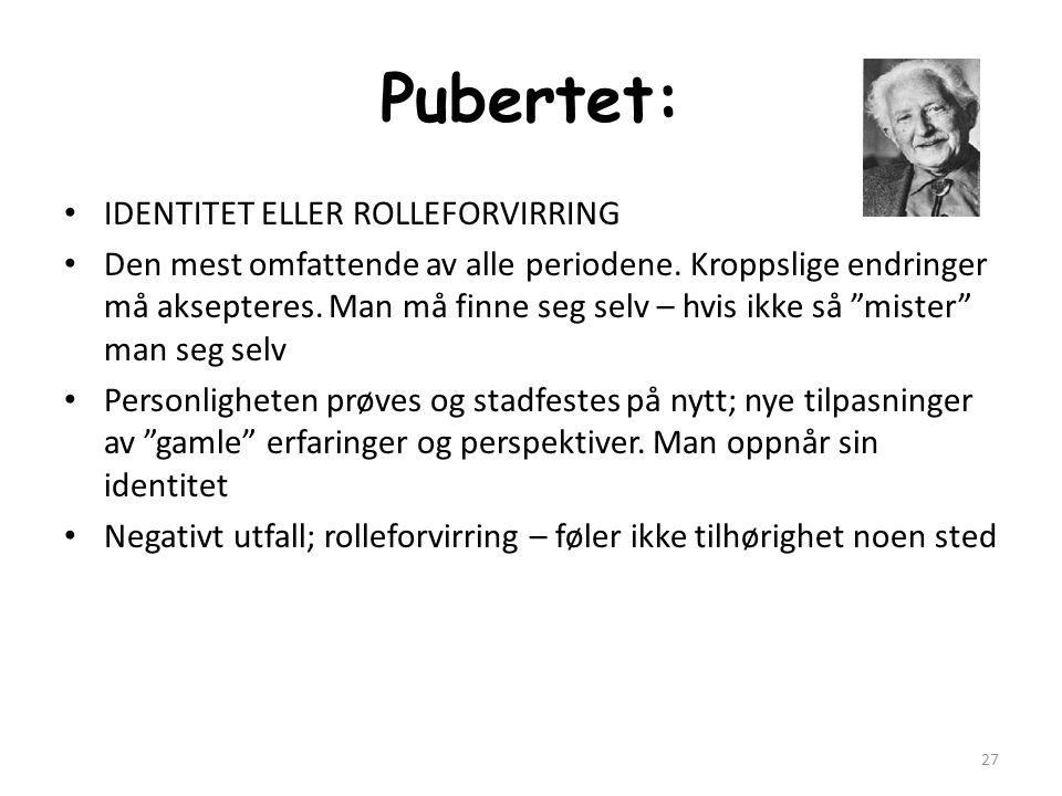 Pubertet: IDENTITET ELLER ROLLEFORVIRRING