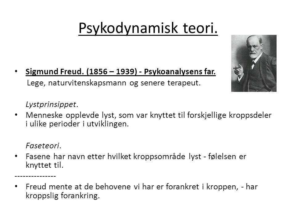 Psykodynamisk teori. Sigmund Freud. (1856 – 1939) - Psykoanalysens far. Lege, naturvitenskapsmann og senere terapeut.