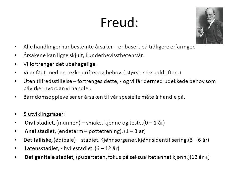 Freud: Alle handlinger har bestemte årsaker, - er basert på tidligere erfaringer. Årsakene kan ligge skjult, i underbevisstheten vår.