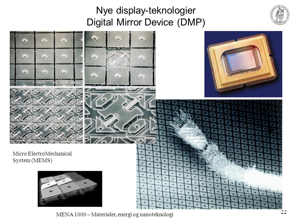Nye display-teknologier Digital Mirror Device (DMP)