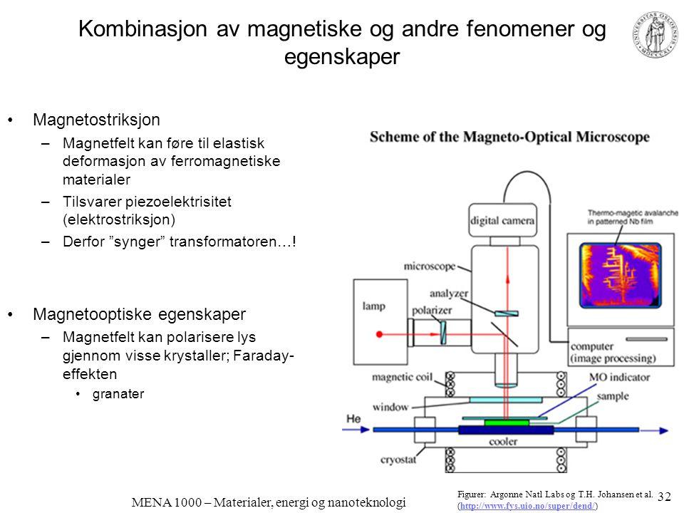 Kombinasjon av magnetiske og andre fenomener og egenskaper