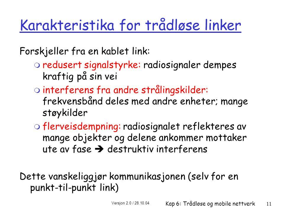 Karakteristika for trådløse linker
