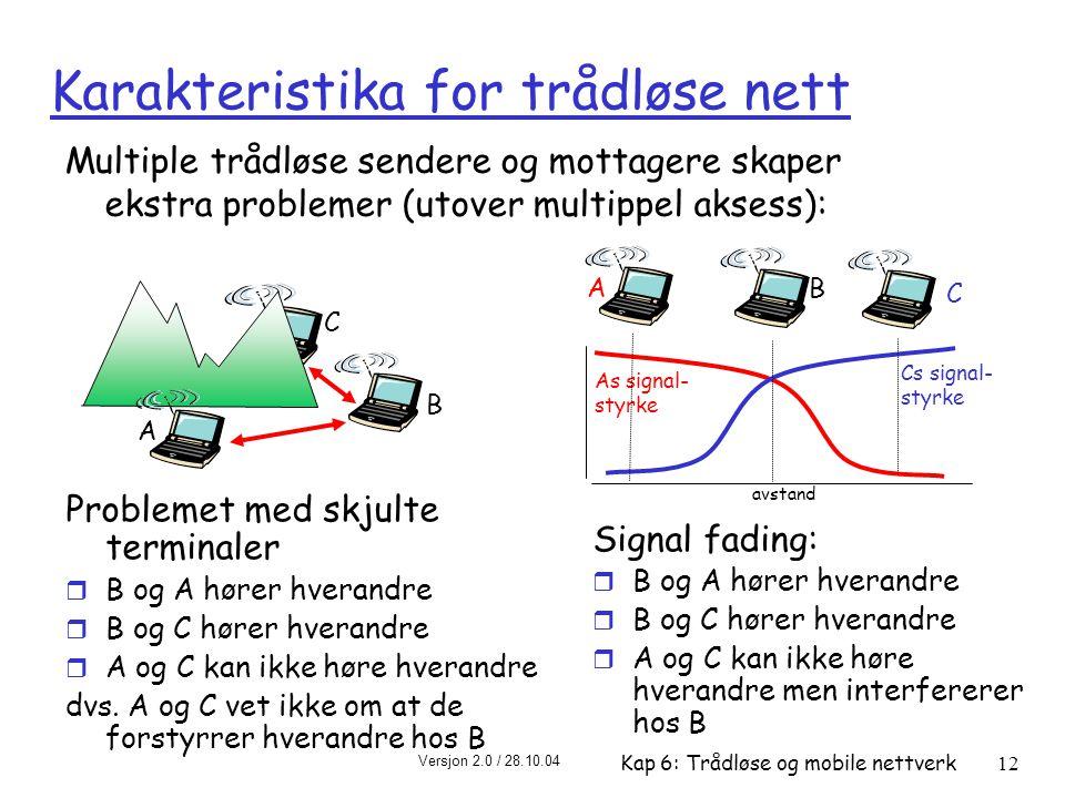 Karakteristika for trådløse nett