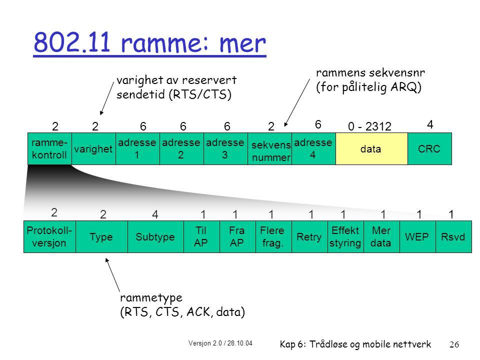 802.11 ramme: mer rammens sekvensnr (for pålitelig ARQ)