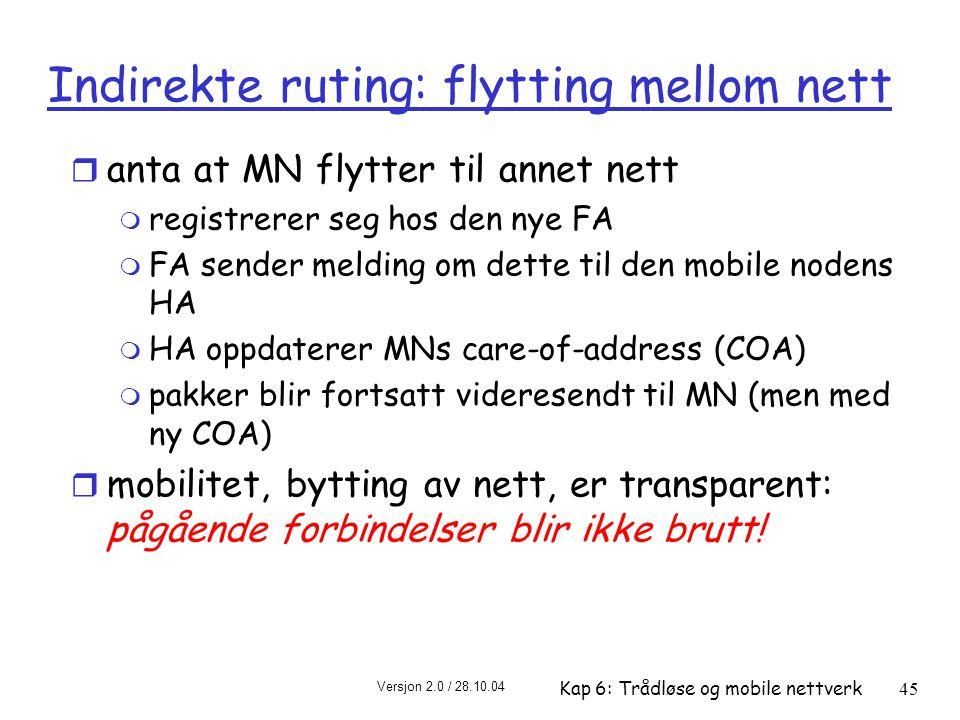 Indirekte ruting: flytting mellom nett