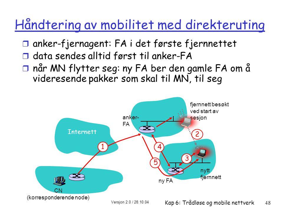 Håndtering av mobilitet med direkteruting