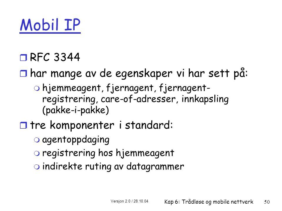 Mobil IP RFC 3344 har mange av de egenskaper vi har sett på: