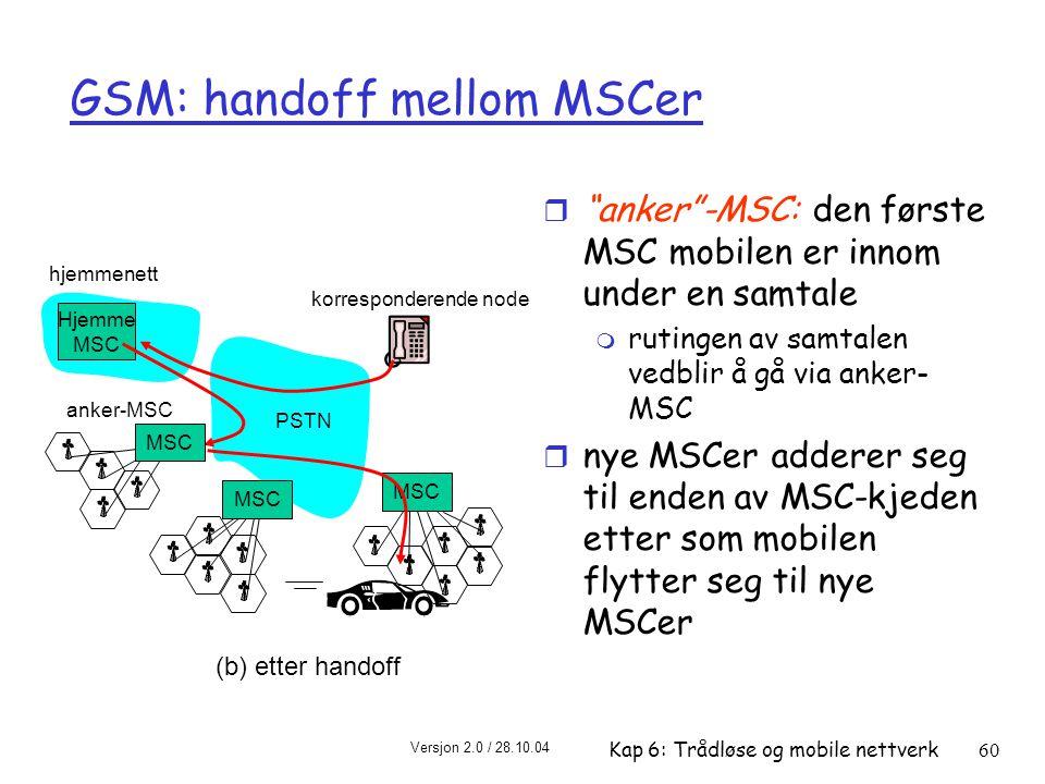 GSM: handoff mellom MSCer