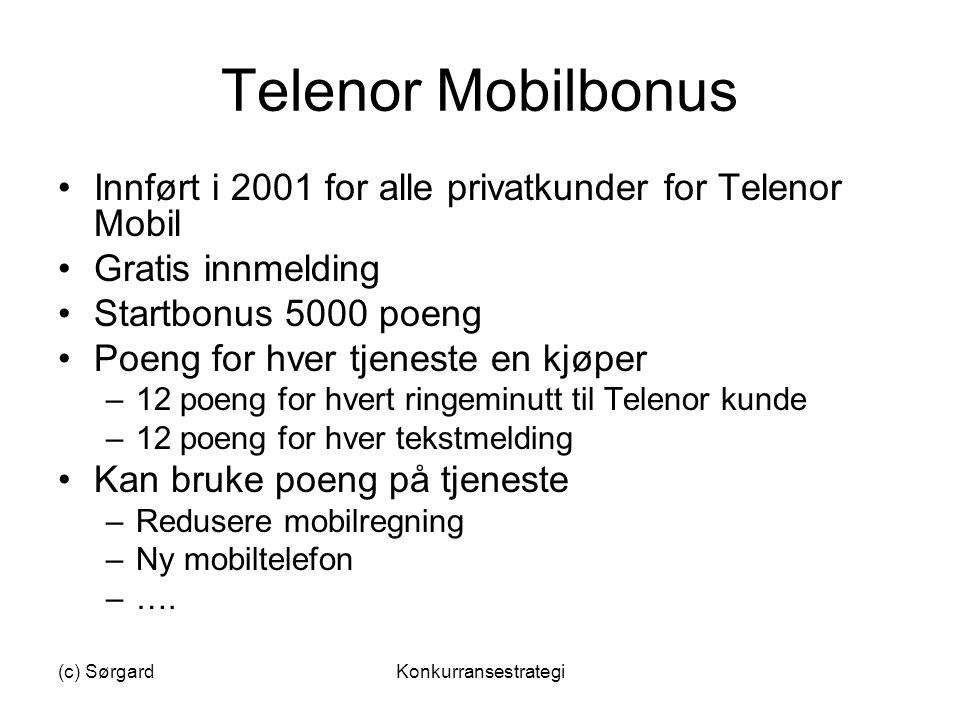 Telenor Mobilbonus Innført i 2001 for alle privatkunder for Telenor Mobil. Gratis innmelding. Startbonus 5000 poeng.