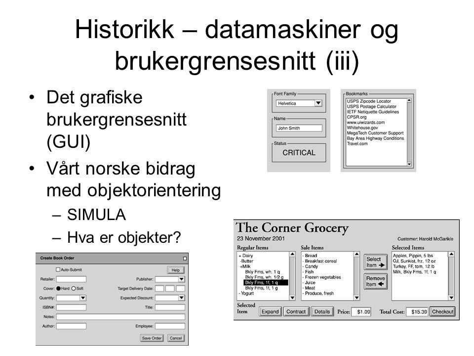 Historikk – datamaskiner og brukergrensesnitt (iii)