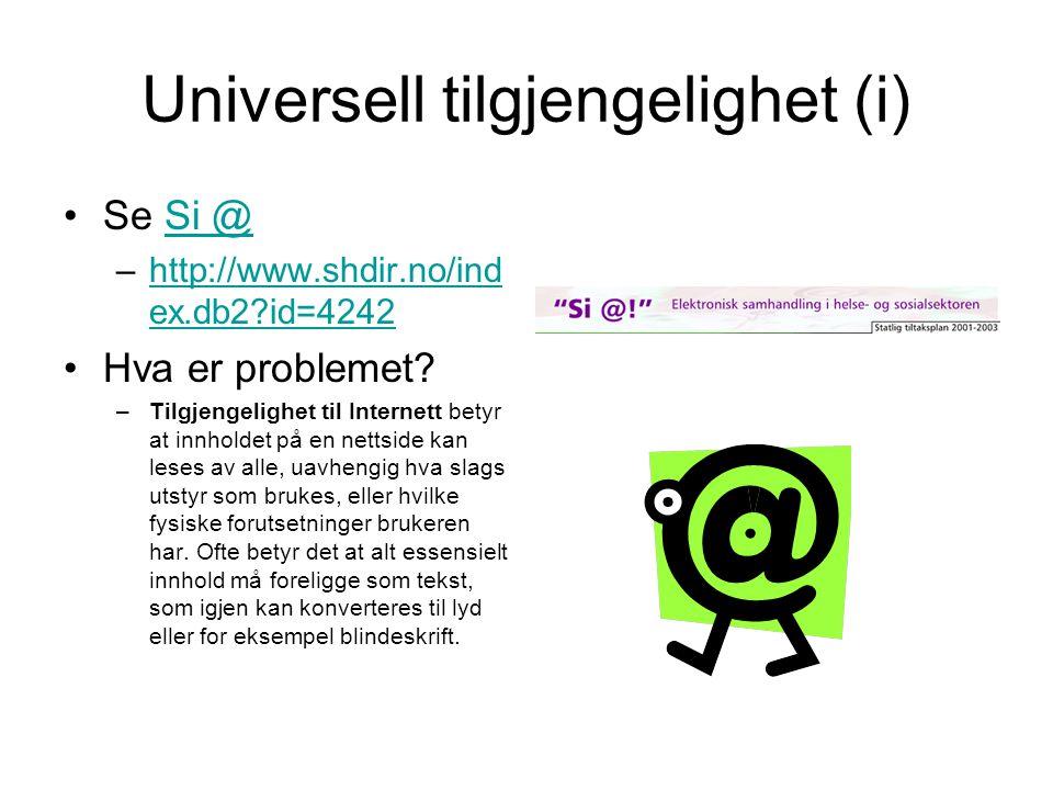 Universell tilgjengelighet (i)