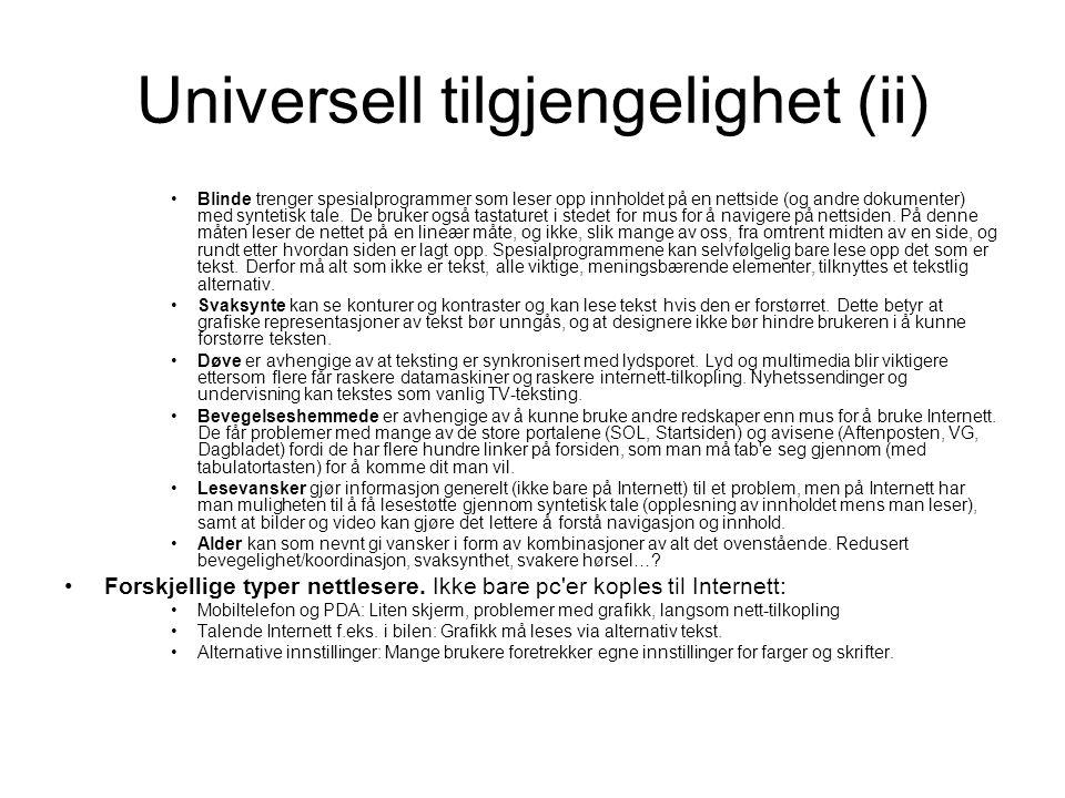 Universell tilgjengelighet (ii)
