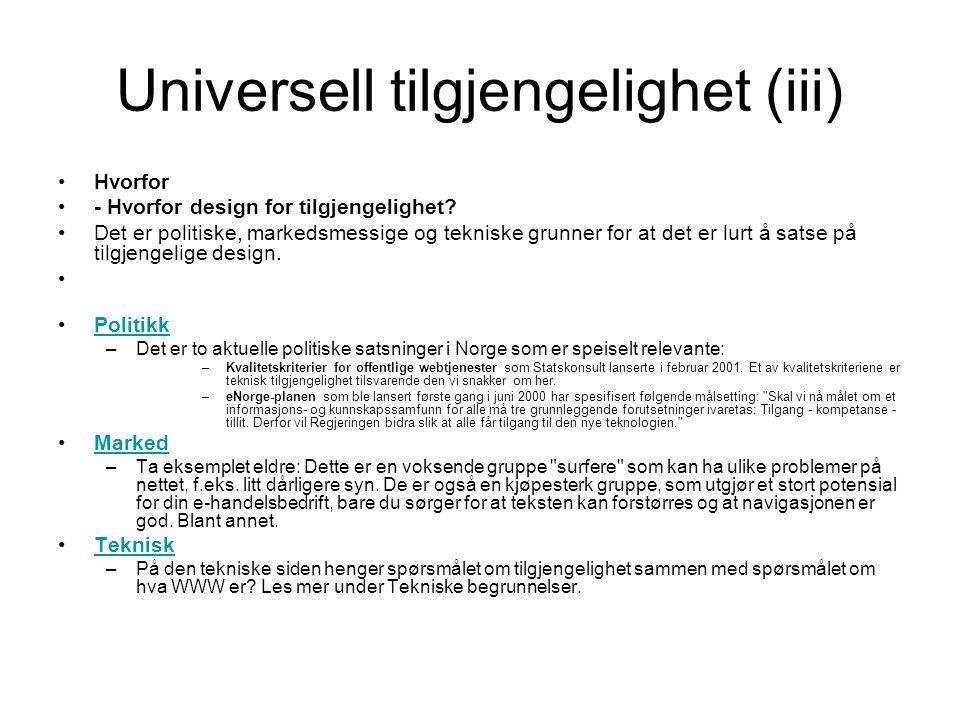 Universell tilgjengelighet (iii)