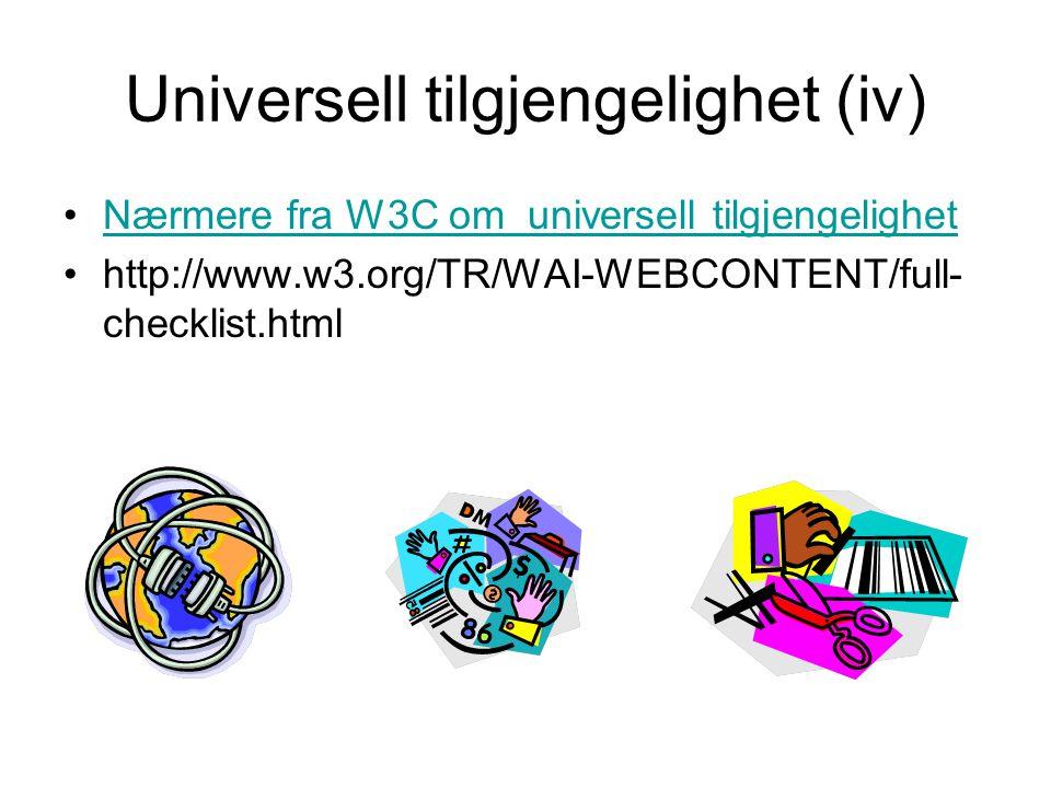 Universell tilgjengelighet (iv)