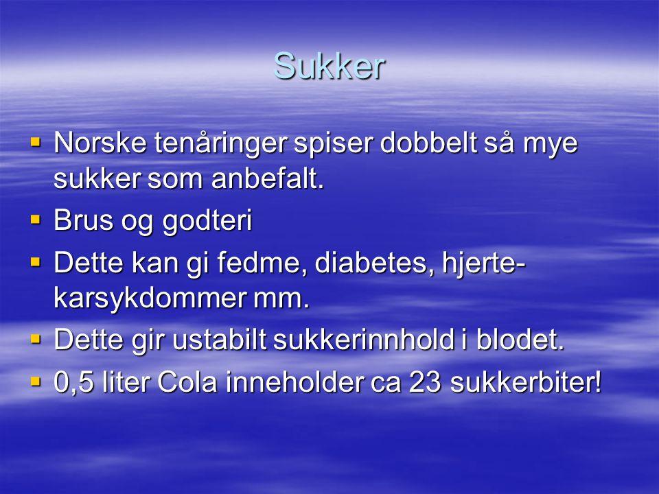 Sukker Norske tenåringer spiser dobbelt så mye sukker som anbefalt.
